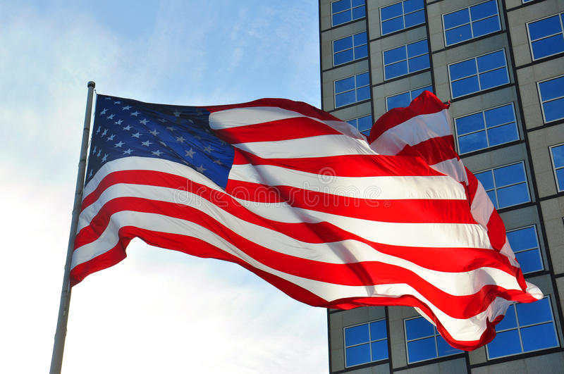 American flag. Massive American flag in the city royalty free stock image