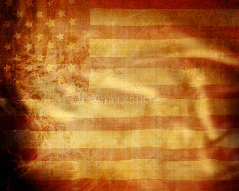 American flag. Old grunge american flag with some folds in it stock illustration