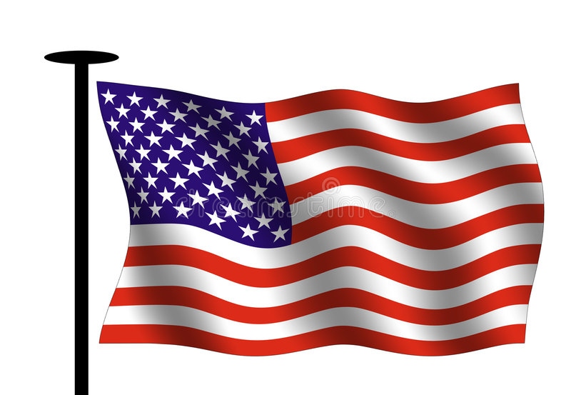 American flag. Waving American flag with flag pole