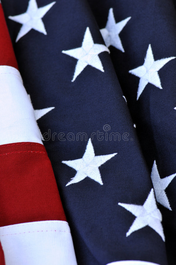 American Flag. Gorgeous vertical representation of the symbolic stars and stripes of an American flag stock photo