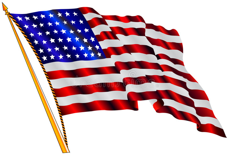American flag. Waving in the wind