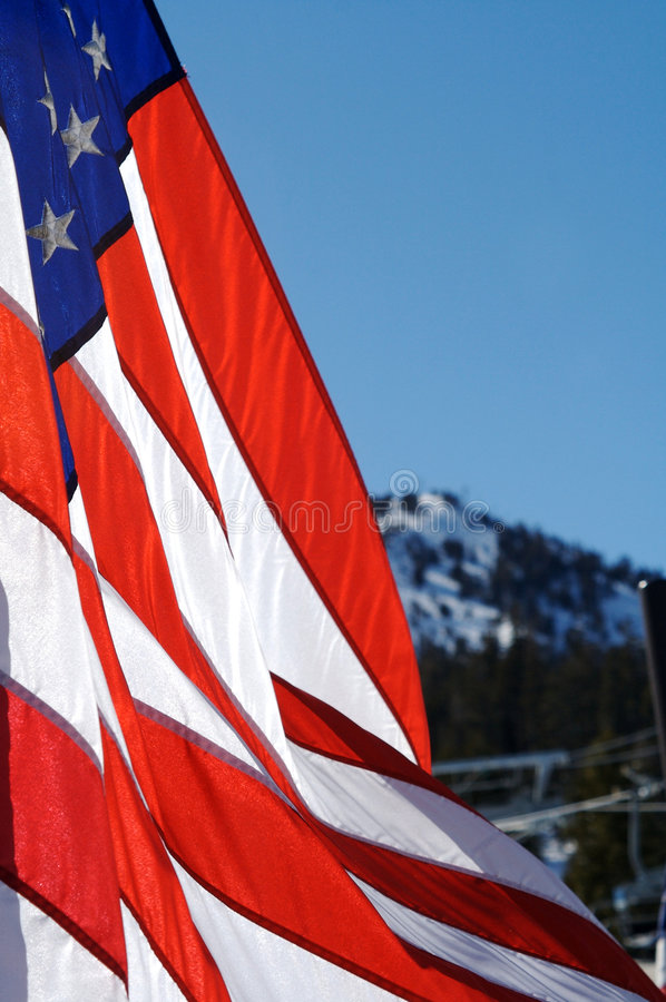 American Flag. An American flag blowing in Mammoth Lakes, CA royalty free stock image