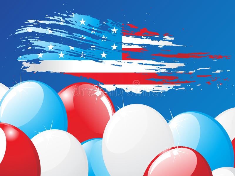 American flag. Grunge American flag with balloon background royalty free illustration