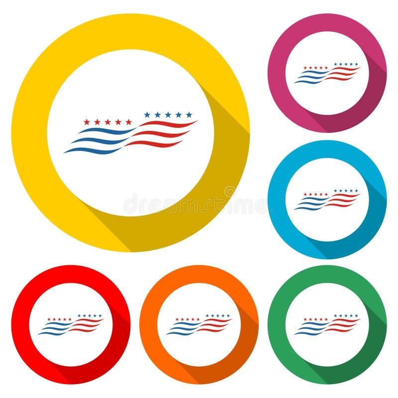 American flag abstract, USA flag icon or logo, color set with long shadow stock illustration