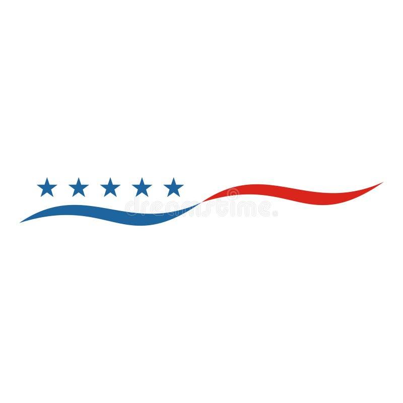 American flag abstract, USA flag logo, US flag icon stock illustration