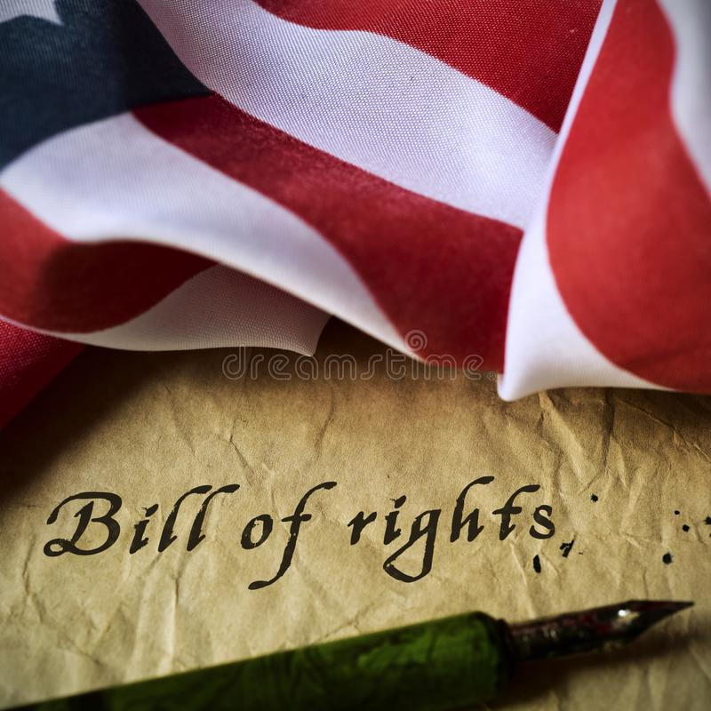 Free American Flag And Text Bill Of Rights Royalty Free Stock Photo - 132842675