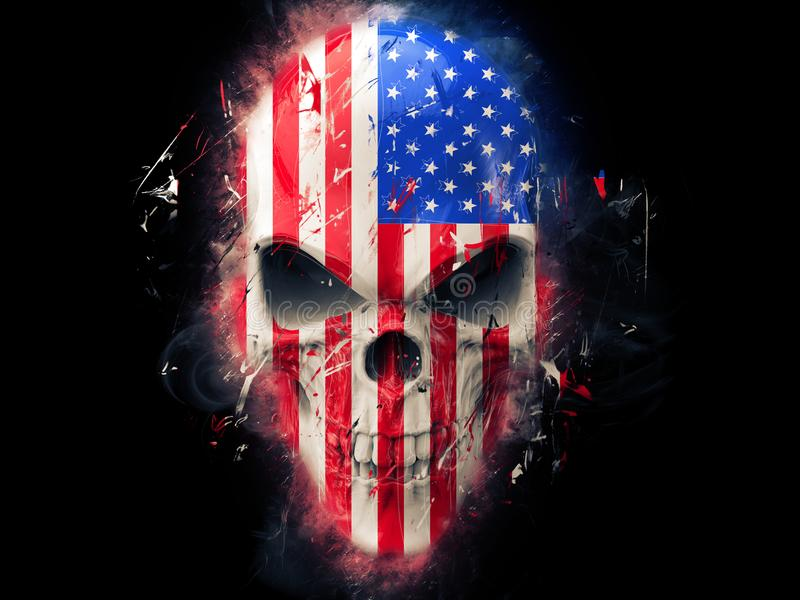 American flag angry skull - abstract royalty free illustration