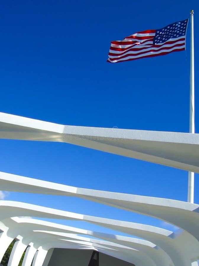 American Flag on Arizona Memorial stock image