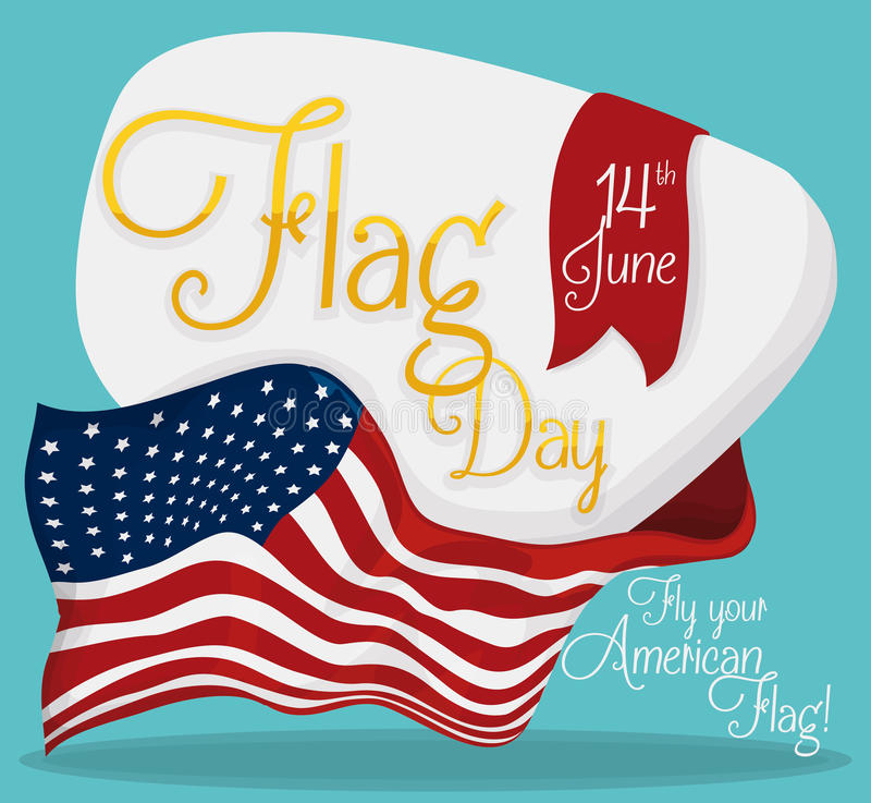 American Flag Around Commemorative Sign for Flag Day, Vector Illustration. Commemorative sign with golden text and ribbon with date to celebrate American Flag stock illustration