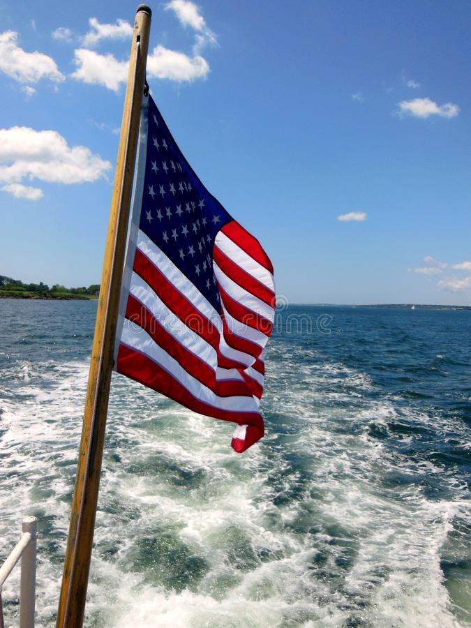American Flag. On the back of a boat in Newport, Rhode Island royalty free stock photos