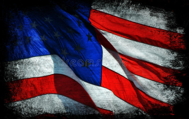 American Flag Background. A bold, vibrant, and unique patriotic background of a waving American flag brushed onto a black canvas stock image