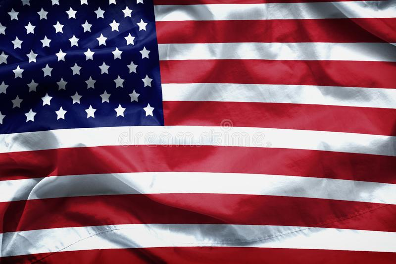 American flag background. Closeup of ruffled American flag royalty free stock photo