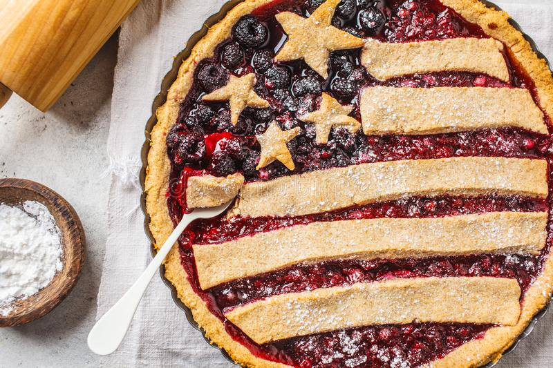 American flag berry pie, top view. Independence Day of America concept royalty free stock images