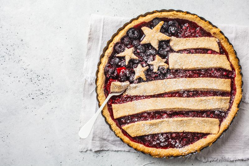 American flag berry pie, top view. Independence Day of America concept royalty free stock photo