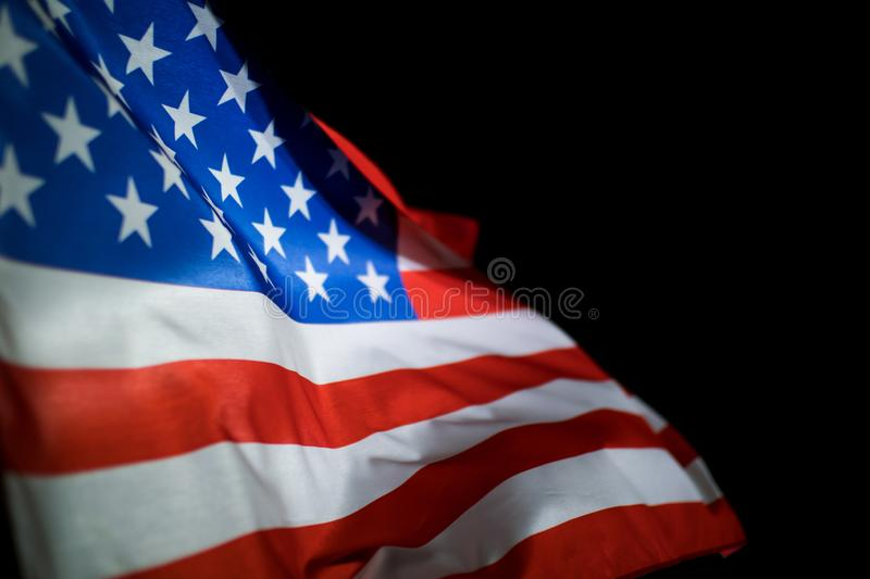 American flag on black background royalty free stock image