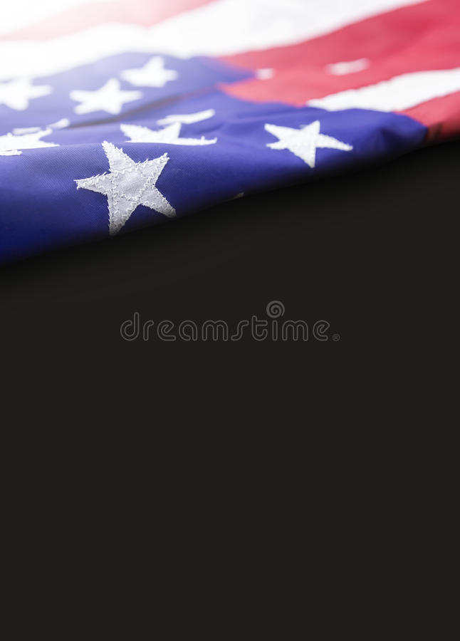 American flag on black background with copy space royalty free stock photo