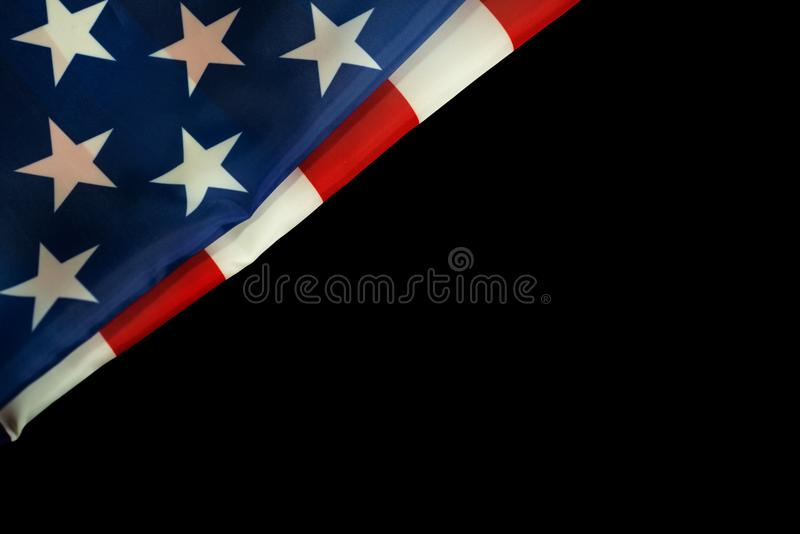 American flag on black background for Memorial Day or 4th of July royalty free stock images