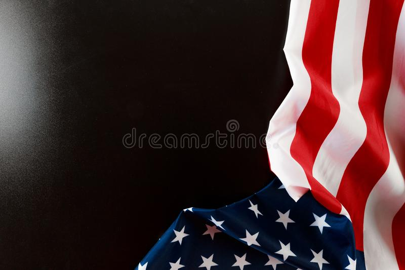 American flag on a black  background  top view. Image stock photography