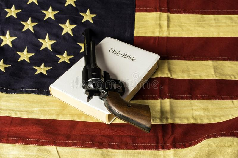 American Flag Black Revolver and Bible royalty free stock images