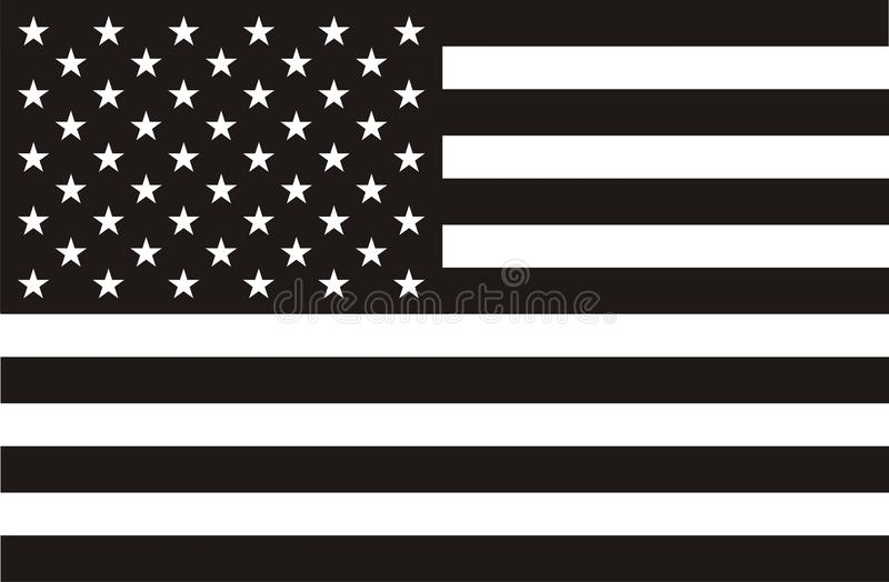 American flag in black and white vector illustration