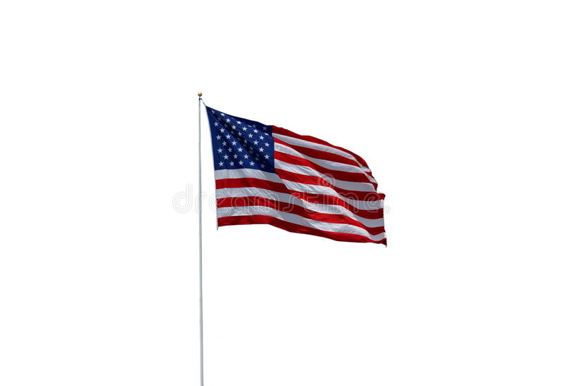 American Flag. Blowing in the breeze on a white background stock photo
