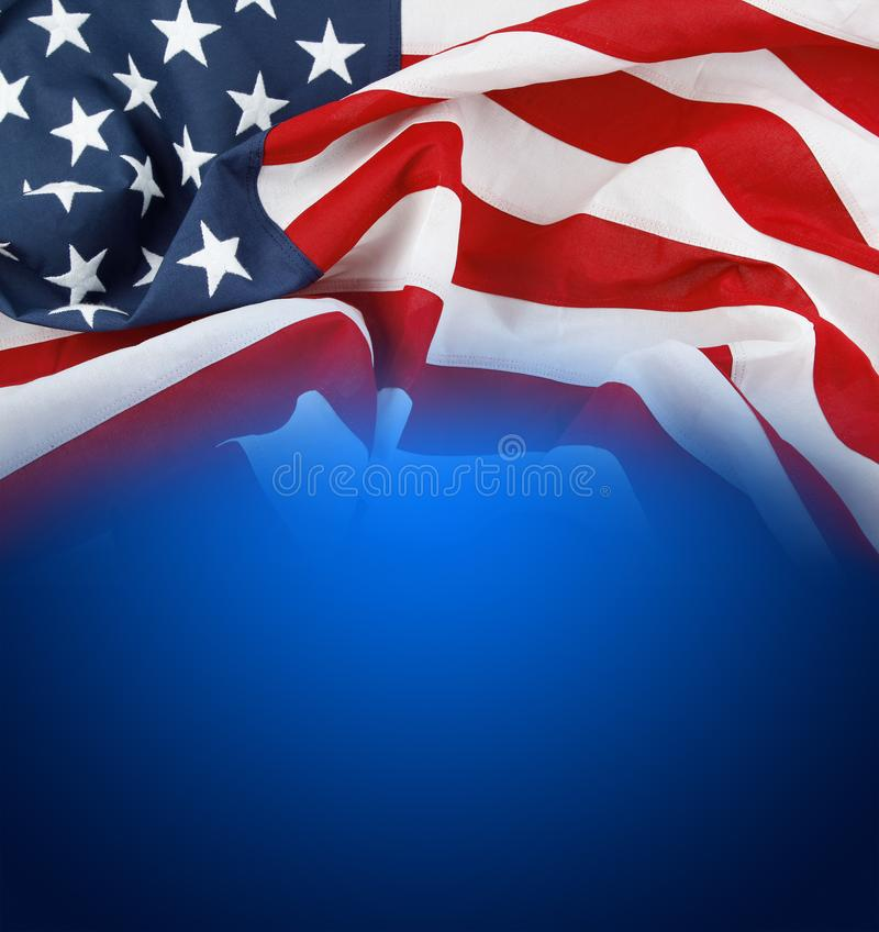 American flag on blue. Background stock image