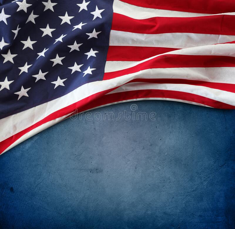American flag on blue royalty free stock images