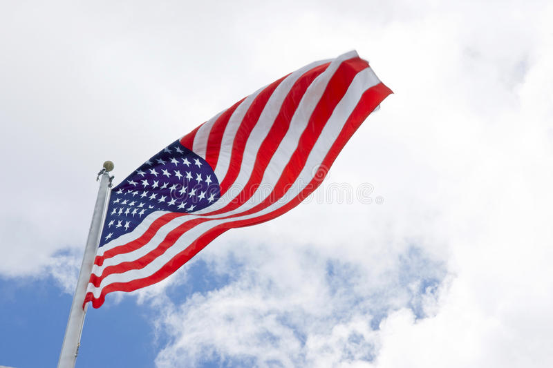 American flag. With blue sky stock photo