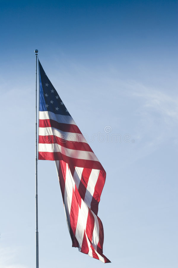 American Flag Blue Sky stock photos