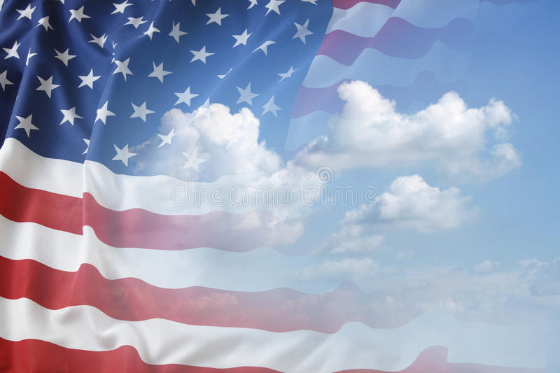 American flag. In blue sky royalty free stock image
