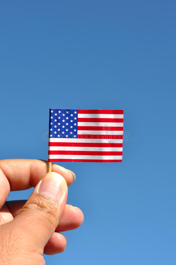 American flag in blue sky royalty free stock images