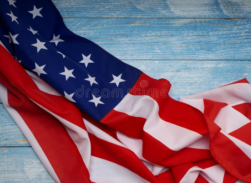 American flag on blue wooden royalty free stock photo