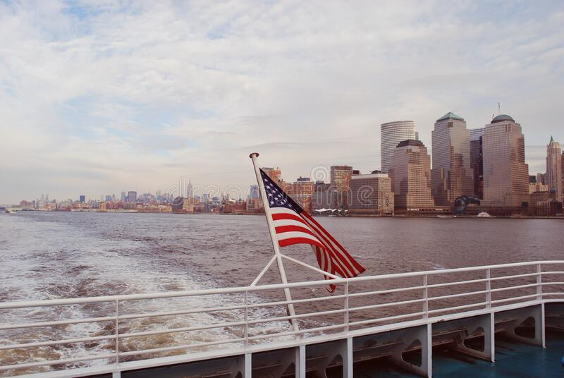 American flag on boat in New York stock photo