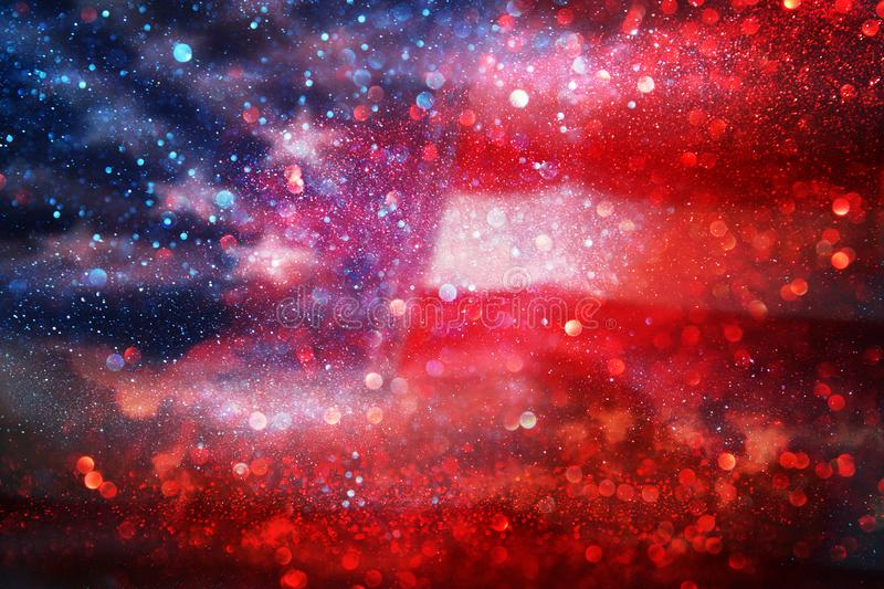 American flag and bokeh background with copy space for american celebration.  royalty free stock photography