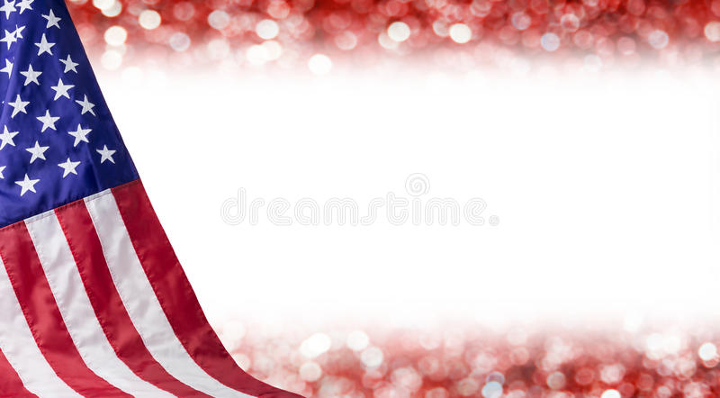 American flag and bokeh background. With copy space for 4 july independence day and other celebration stock photo