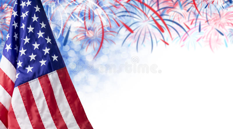 American flag and bokeh background with firework and copy space royalty free stock photos
