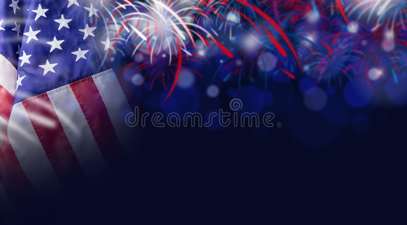 American flag and bokeh background with firework and copy space stock photo