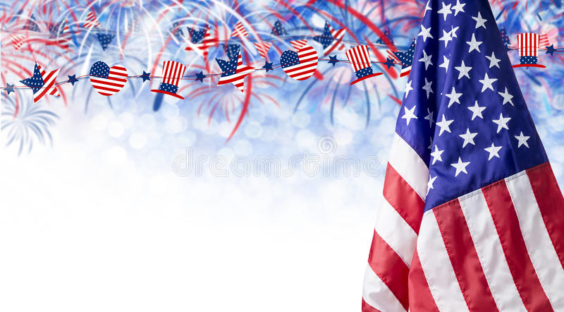 American flag and bokeh background with firework and copy space. For 4 july independence day and other celebration stock image