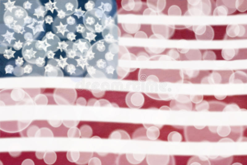 American Flag Bokeh Lights. Abstract background of an American flag stock image