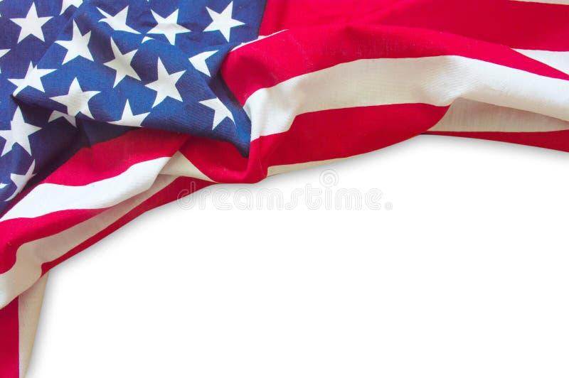 American flag border. On white background stock photo