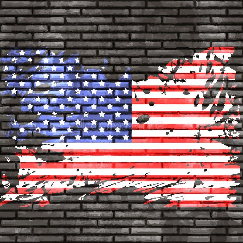 American flag on brick wall. Grunge American flag on a brick wall royalty free illustration