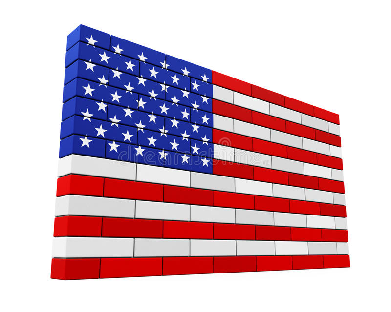 American Flag Brick Wall Isolated. On white background. 3D render stock illustration