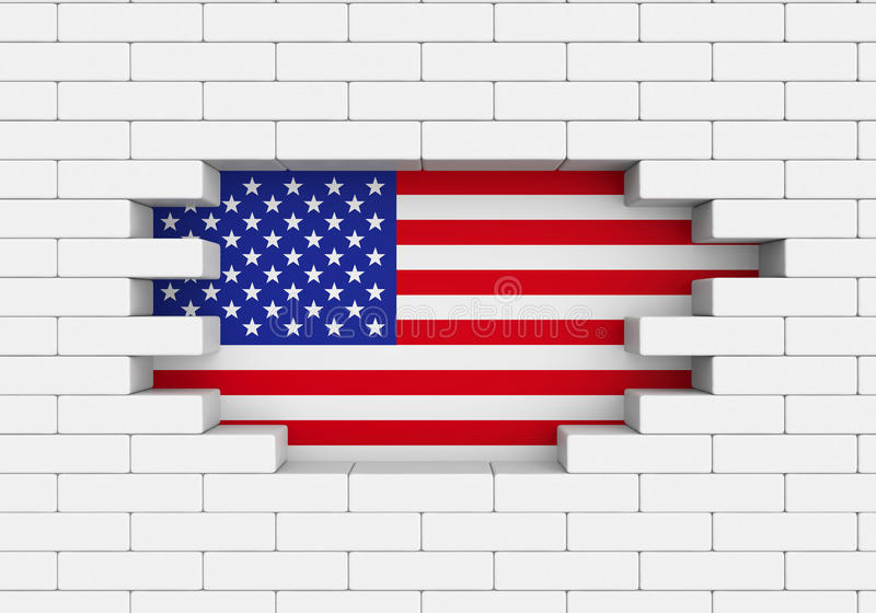 American Flag Brick Wall. Isolated on white background. 3D render vector illustration