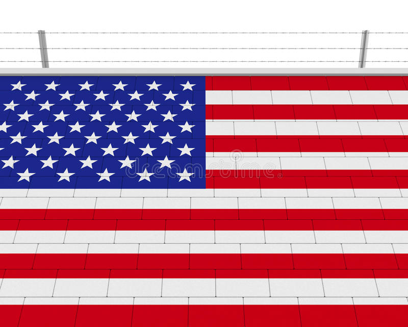 American Flag Brick Wall. Isolated on white background. 3D render royalty free illustration