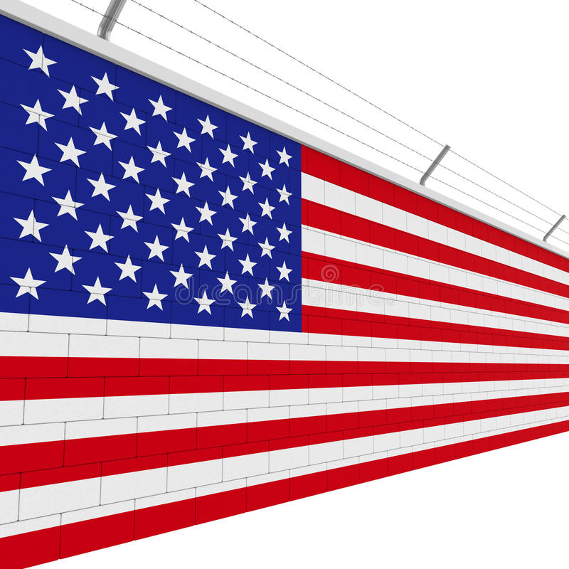 American Flag Brick Wall. Isolated on white background. 3D render stock illustration