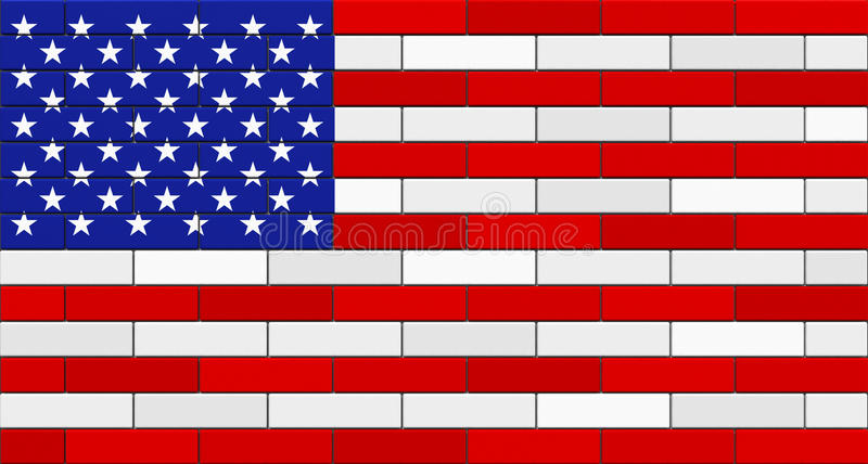 American Flag Brick Wall Isolated. On white background. 3D render vector illustration
