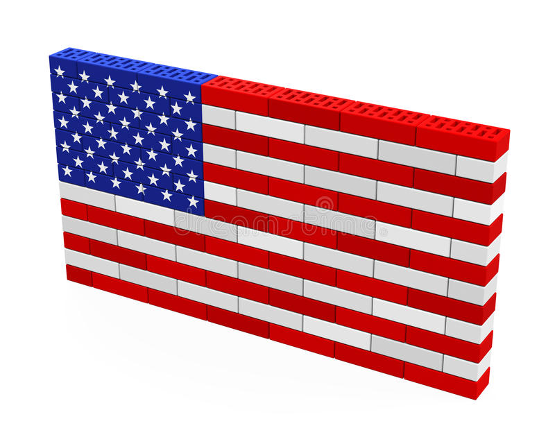 American Flag Brick Wall Isolated. On white background. 3D render royalty free illustration