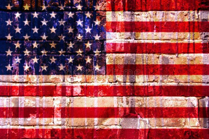 American flag. Brick wall texture stock image