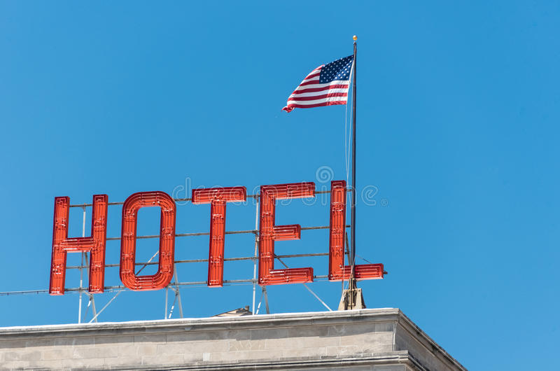 American flag on a building in Chicago royalty free stock photos
