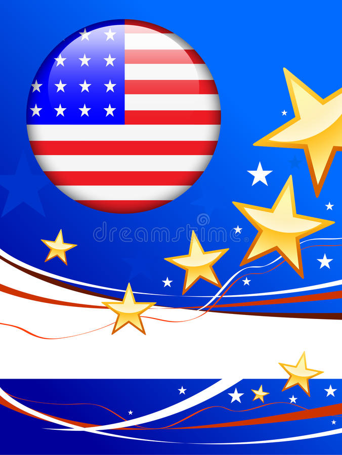 Download American Flag Button On Patriot Background Stock Photography - Image: 12422952